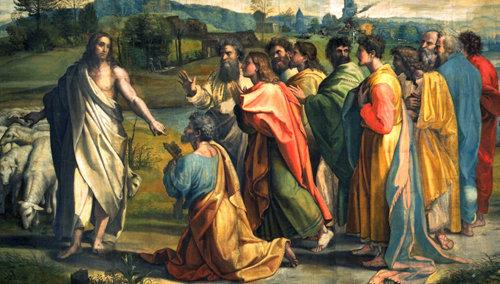 En Juan 21, 15-17, Jesús le confía todo su rebaño a San Pedro y le manda que lo apaciente y gobierne