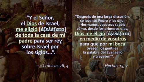 Paralelo de 1 Crónicas 28, 4 y Hechos 15, 7