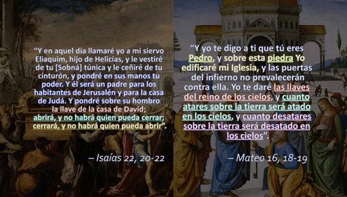 Paralelo de Isaías 22, 20-22 y Mateo 16, 18-19