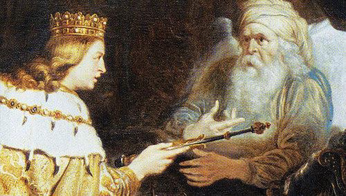 """El rey David describe a su sucesor, Salomón, como a """"quien solo le ha elegido Dios""""."""