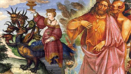 El Anticristo Revelado: La Bestia que era, y ya no es, ha regresado. La Ramera de Babilonia (Roma) sentada sobre la bestia (Unión Europea).