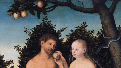 Adán y Eva comiendo el fruto del árbol prohibido