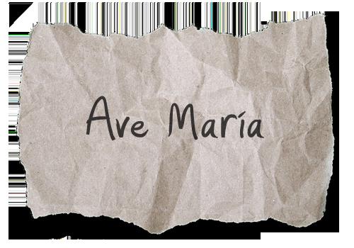 Ave Maria escrito en papel
