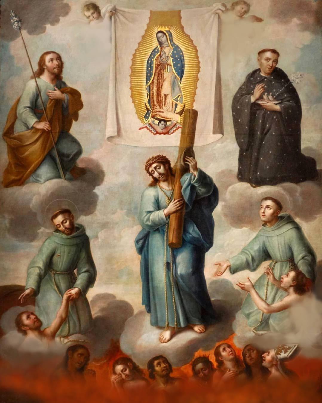 Ánimas benditas del purgatorio y la imagen milagrosa de la Virgen de Guadalupe