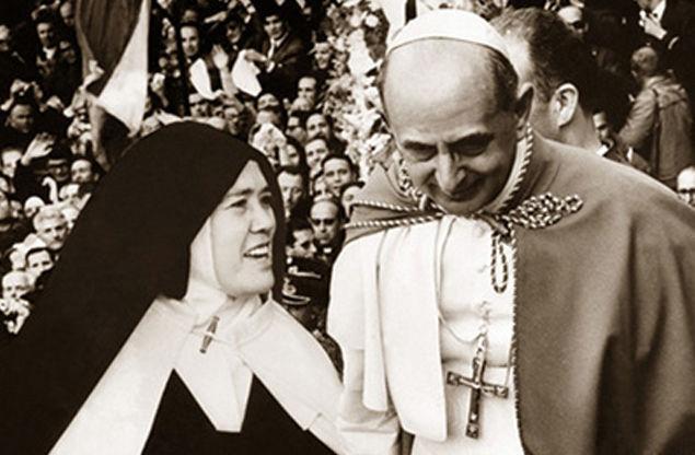 """La falsa """"hermana"""" Lucía con el Anti Papa Pablo VI"""