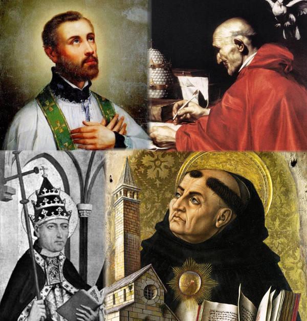 San Francisco Javier,, Papa an Gregorio Magno, Papa San Greogio II, Santo Tomás de Aquino