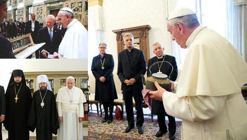 El Antipapa Francisco con los herejes luteranos y otros no católicos