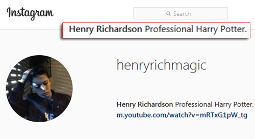 """El 'mago' Henry Richardson dice en su Instagram que es como """"Harry Potter"""""""