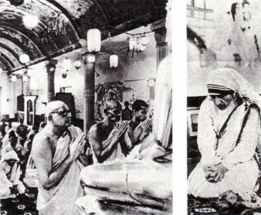 La Madre Teresa de Calcuta adorando a Buda