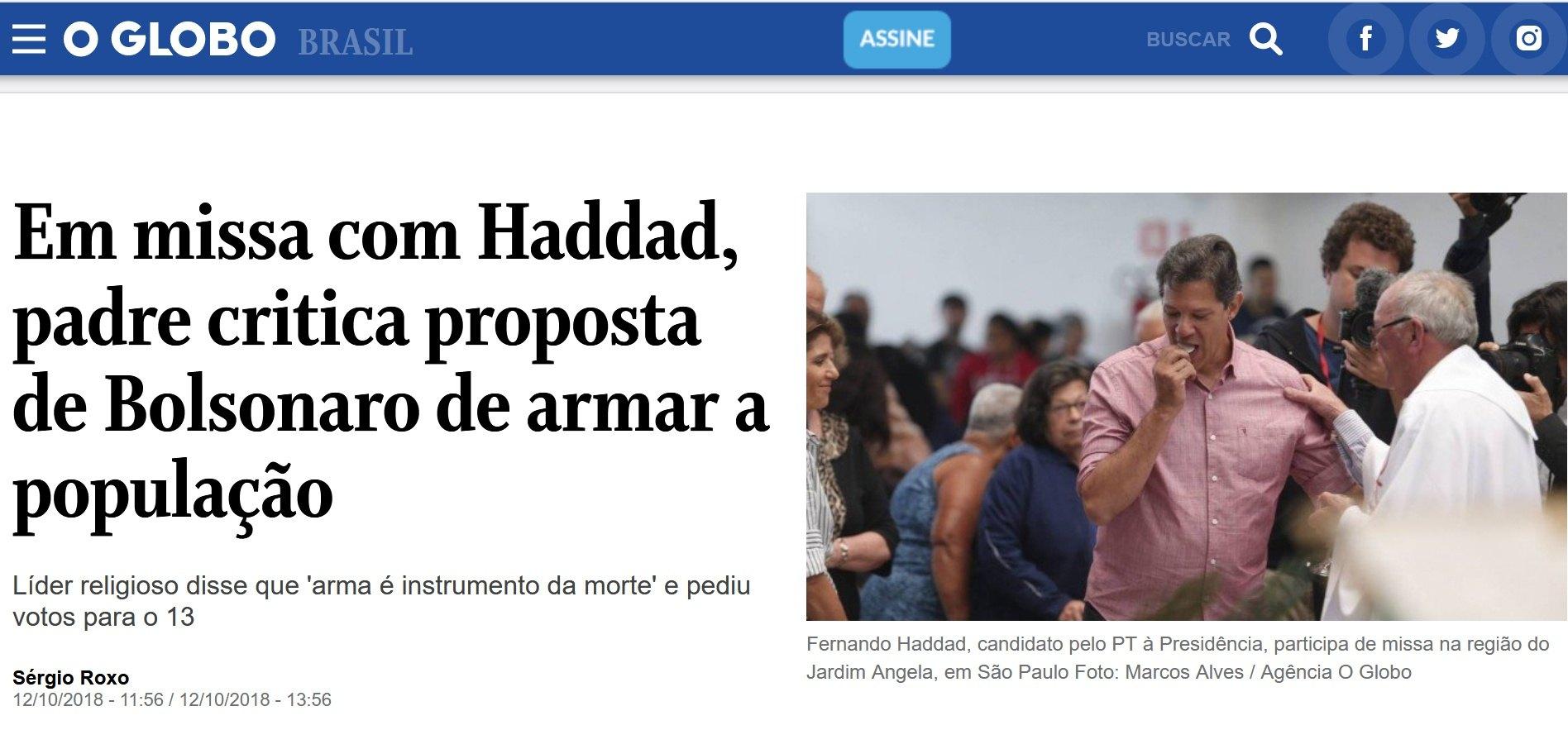 """O Globo - Haddad (pro-abortista0 recibe """"comunión"""" en la mano de un """"sacerdote católico"""""""