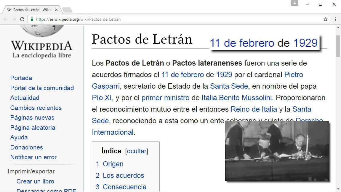 Pactos de Letrán - 11 de febrero de 1929
