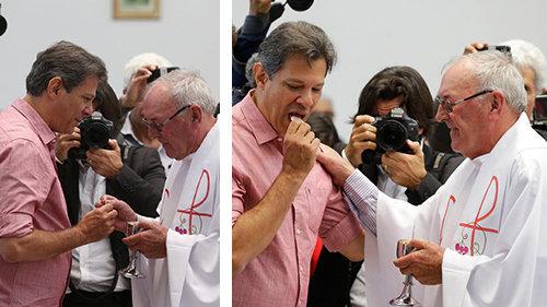 """Haddad (pro-abortista0 recibe """"comunión"""" en la mano de un """"sacerdote católico"""""""