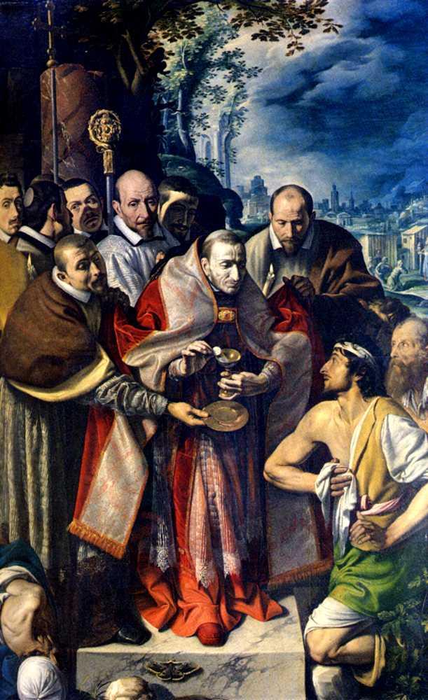San Carlos Borromeo administra la Sagrada Comunión a los enfermos durante la peste