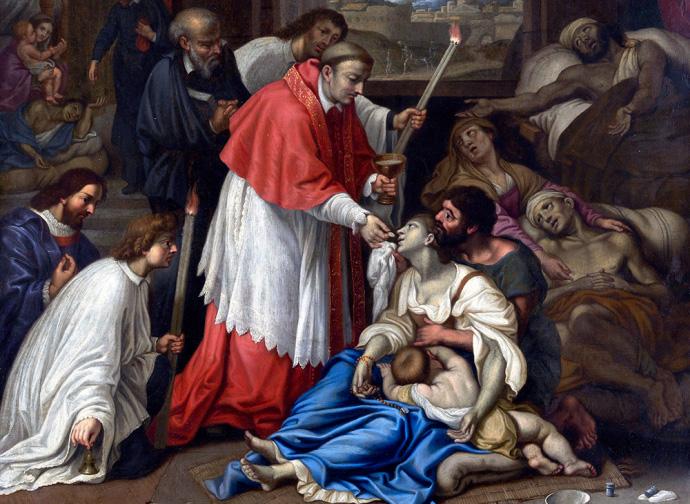 San Carlos Borromeo atendiendo a los necesitados