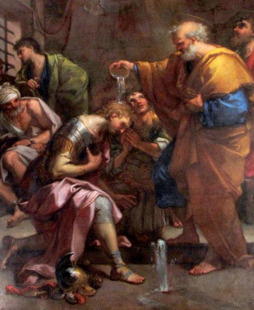 San Pedro bautizó a dos de sus guardias, Proceso y Martiniano, con agua que milagrosamente brotó del suelo