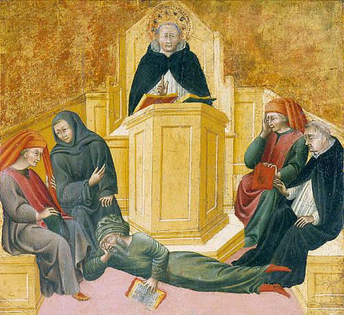 Santo Tomás de Aquino confunde a musulmán Avarroes