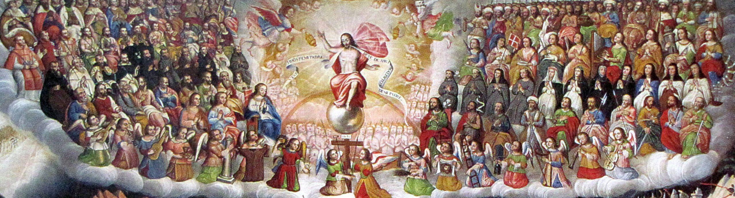 Santos Católicos rodeando a Jesucristo en el Día del Juicio Final