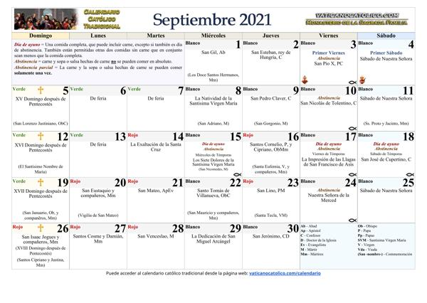 Mes de Septiembre 2021