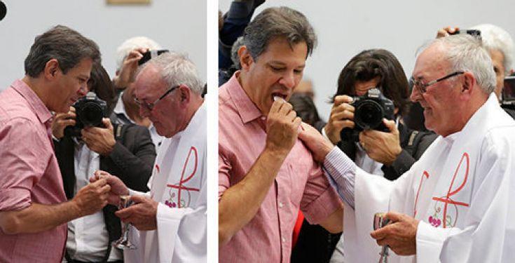 """Un político pro-muerte recibe la """"comunión"""" – elogiado por el """"sacerdote"""""""