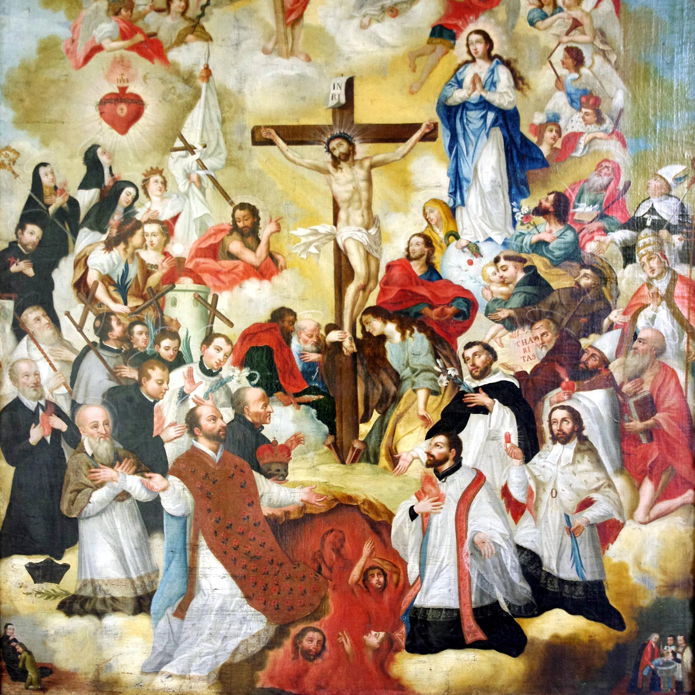 Santos católicos rodeando la Santa Cruz