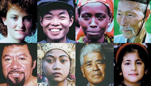 Diferentes caras de la única raza humana