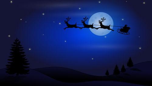 Santa Claus en su trino con renos voladores
