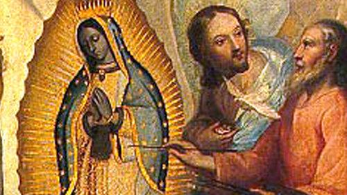 Dios Padre pintando la imagen de Guadalupe