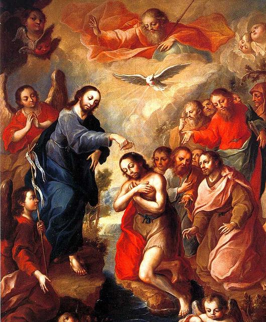 El bautismo de San Juan Bautista, José Joaquín Magón, siglo XVIII  Tecamachalco, Puebla (México).