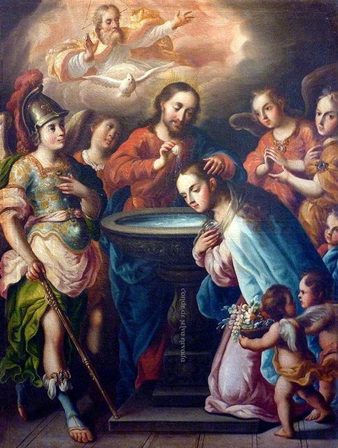 Jesucristo bautizando a su Madre, la Virgen María por Antonio de Torres, siglo XVIII. Museo de Guadalupe, Zacatecas, México.