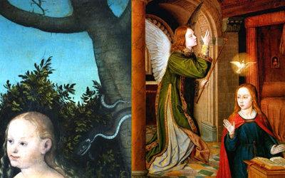 Eva se comunicó con un ángel caído (la serpiente) – María se comunicó con un ángel bueno (Gabriel).