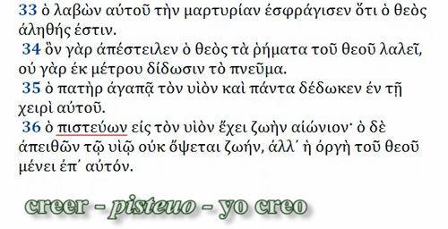 Juan 3 16 griego pisteuo creer