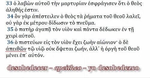 Juan 3 16 griego apeitheo desobedecer