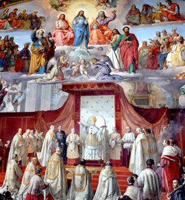 El Papa Pío IX declarando el dogma de la Inmaculada Concepción el 8 de diciembre de 1854.