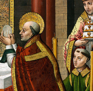 San Gregorio Magno partiendo el pan en domingo, no sábado