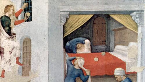 San Nicolás de Bari lanzaba una bolsa dinero