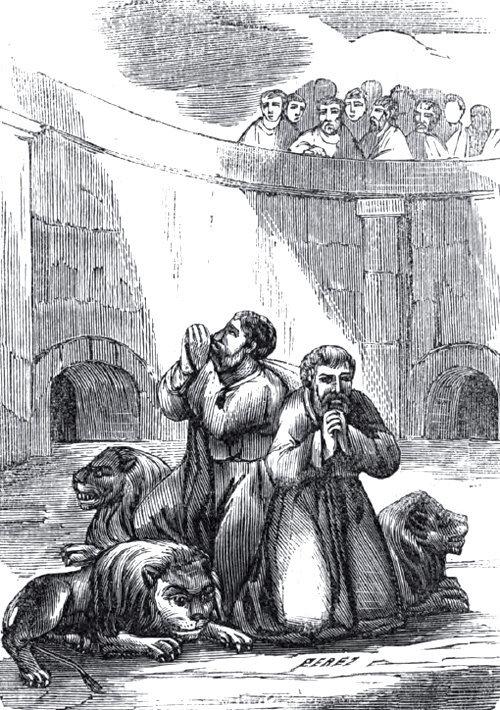 Santos hermanos mártires Faustino y Jovita en el circo con los leones. (15 de febrero)