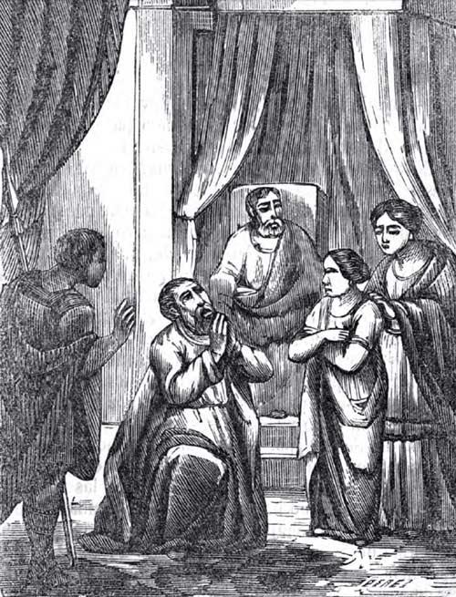 San Valentín rogando a Dios por la curación de la ciega hija de Asterio