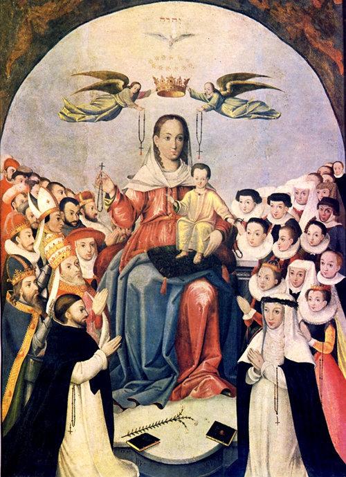 Nuestra Señora del Rosario con Santo Domingo y Santa Rosa de Lima