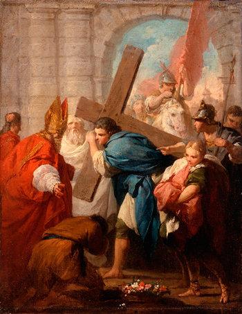 El emperador de Constantinopla, Heraclio, cargando la Santa Cruz en Jerusalén