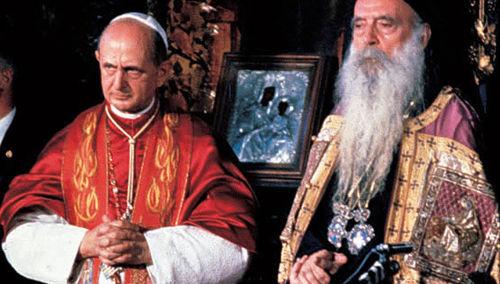 """Anti-Papa Pablo VI y el cismático """"ortodoxo"""" Patriarca Ecuménico Atenágoras I en 1964"""