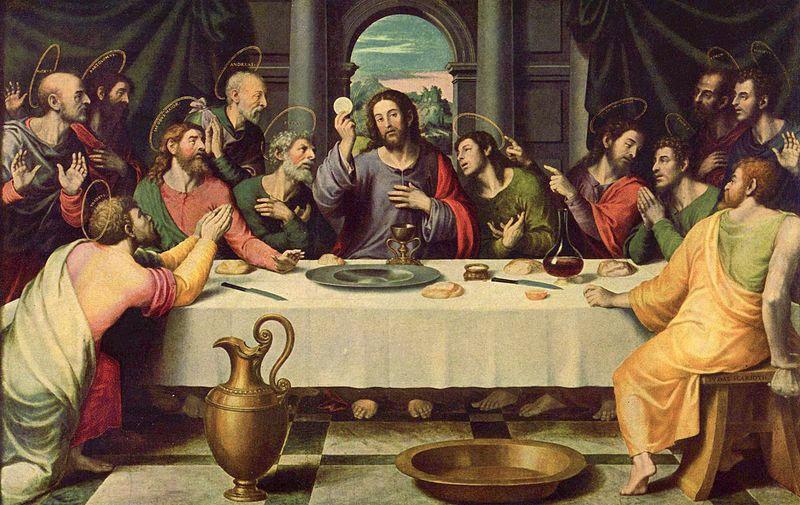 Jesucristo y los doce apóstoles durante la Última Cena