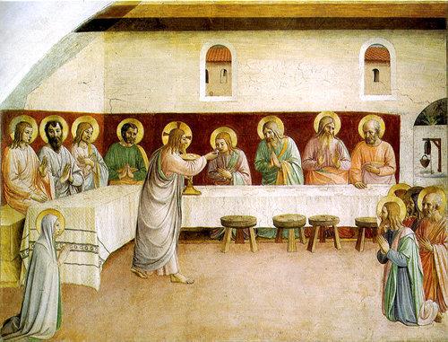Jesucristo da su Cuerpo y Sangre a sus apóstoles y a María