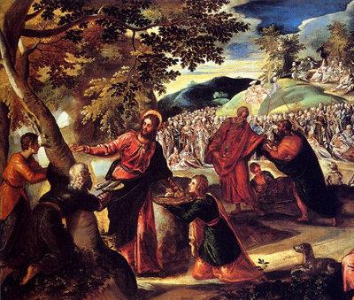 Jesús obrando el milagro de la multiplicación de los panes y los peces.