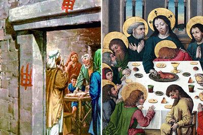 En el Antiguo Testamento los hebreos comían el cordero pascual como Dios ordenó (izquierda) y esto simboliza a Jesús como el Cordero de Dios que debemos comer en la Eucaristía (derecha).