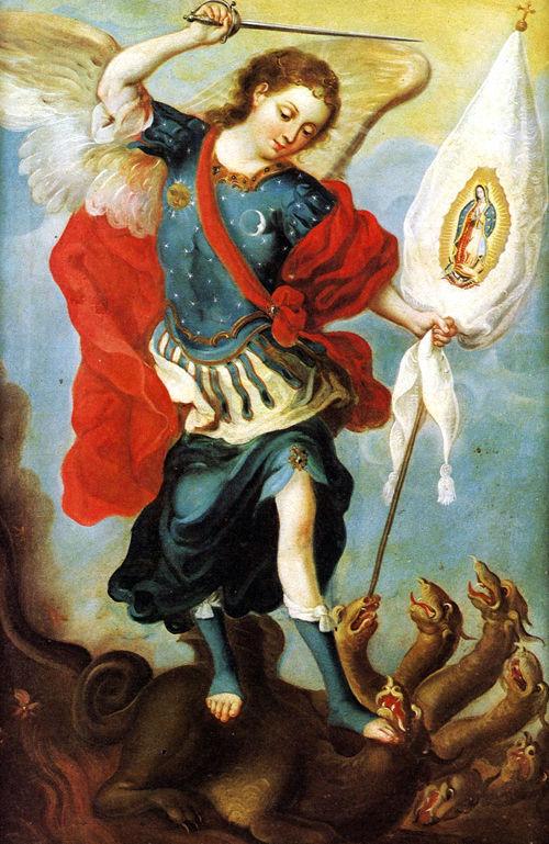 Arcángel San Miguel y la imágen de la Virgen de Guadalupe