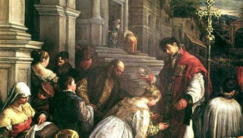 San Valentín bautizando a Santa Lucilla