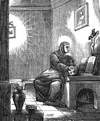 Santa Escolástica en oración
